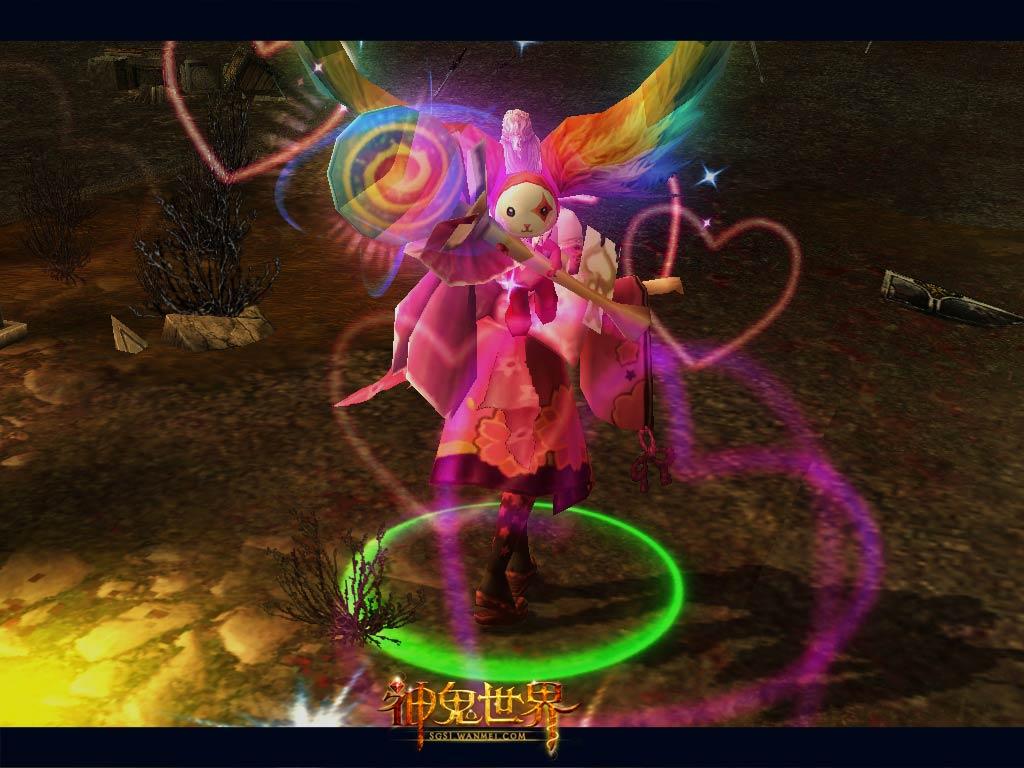 七彩炫光羽翼,超q超可爱的棒棒糖法杖,粉红色的心形坠饰以及无辜的小